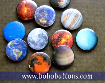 Solar System Universe Planet Magnet Set Planets Pinback Button Mars Jupiter Earth Sun Moon Educational Tools Learning Teaching Gift Pin Set