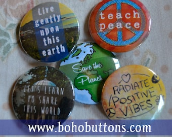 """Nature """"Save the Earth"""" Button Set for 6 (Six) Dollars, Pinback Button Sale, Discount Bulk Button Badges Pins Boho Buttons Environment Peace"""