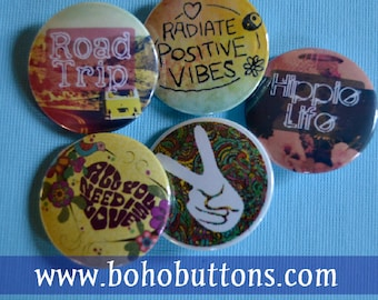 Hippie Love and Peace Button Set for 6 (Six) Dollars, Pinback Button Sale, Discount Bulk Button Badges Pins Boho Buttons Positive Vibes