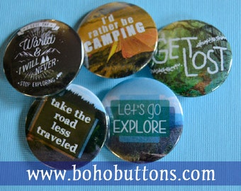 Camping and Nature Button Set for 6 (Six) Dollars, Pinback Button Sale, Discount Bulk Button Badges Pins Boho Buttons Outdoor Living Hiking