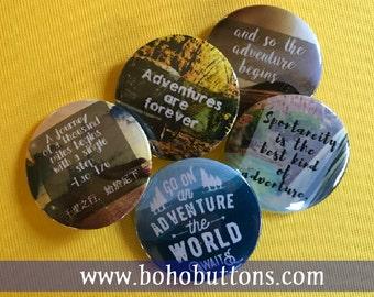 Adventure Travel Pinback Button Set, Backpack Pin Sale, Discount Bulk Badges Pins Boho Buttons, Traveler Explore Wanderlust Voyage Sojourn