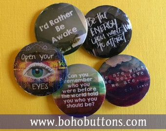 Introspective Pinback Button Set, Backpack Pin Sale, Discount Bulk Badges Pins Boho Buttons, Motivational Awake New Age Style Energy Gift