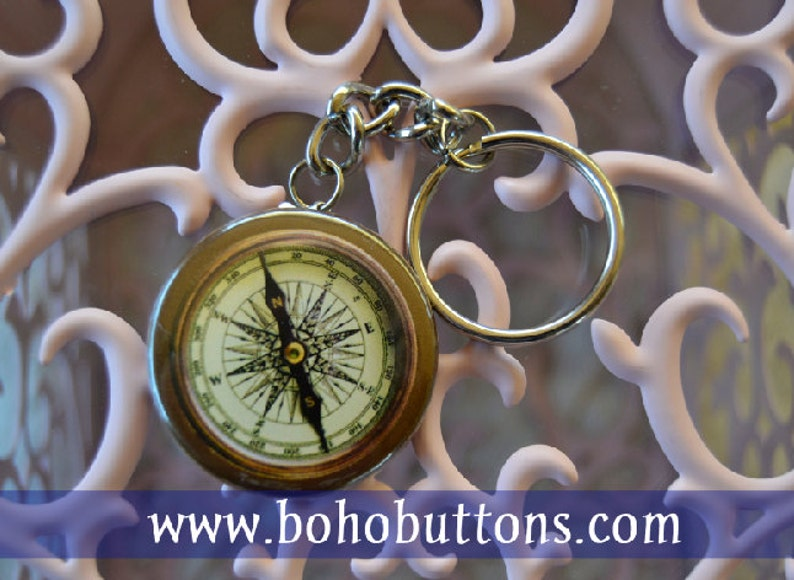Compass 1.5'' Keychain Travel Keychain Adventure image 0