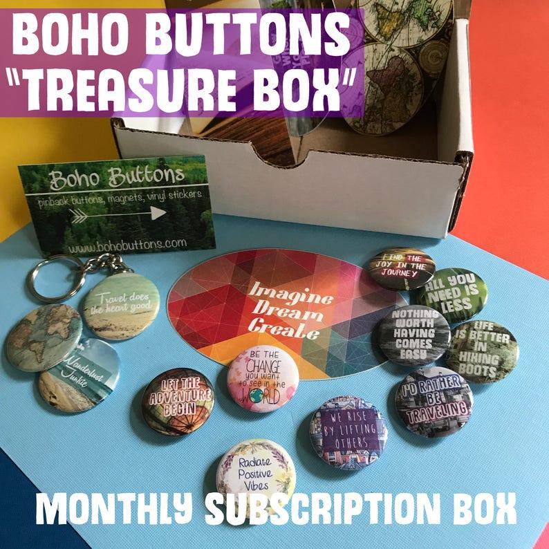 Monthly Subscription Treasure Box Mystery Box Subscription Box Unique Gift Box Random Buttons Subscription Box Monthly Box