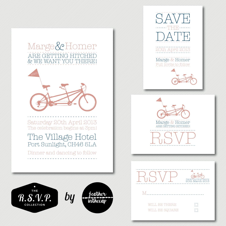 Sweet Tandem Bicycle Printable Wedding Invitation Set DIY