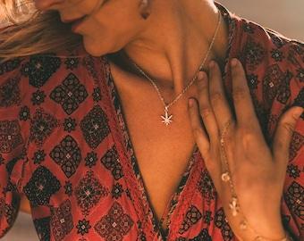 14k Herb Necklace, layer necklace, marijuana leaf necklace, 420 necklace, herb leaf, gold jewelry, glam jewelry, dainty necklace,Stargaze