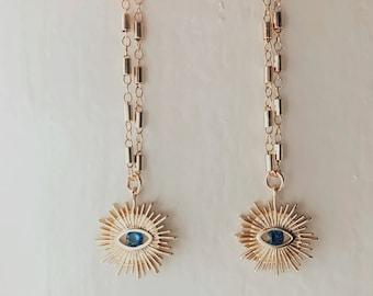 14k Stargaze evil eye earrings, evil eye earrings, blue evil eye, gold filled earrings, evil eye jewelry, boho jewelry, gold earrings