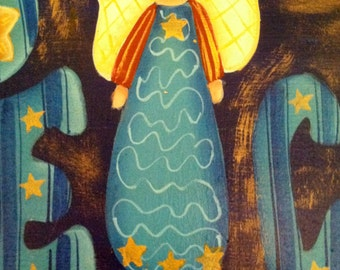 """Hand Painted """"Peace Angel"""" Wood Plaque ~ Free Shipping"""