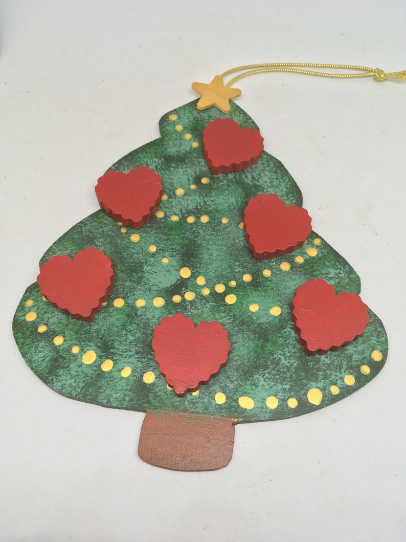 Vintage Hand Crafted And Hand Painted Wood Christmas Tree Family Ornament
