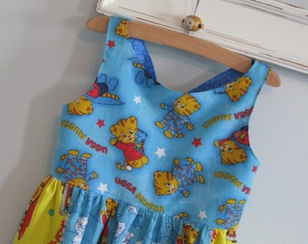 Daniel Tiger Dress-Made to Order up to a size 10-Daniel Tiger's Neighborhood PBS KIDS Katerina Kittycat King Friday Queen Sara Saturday's