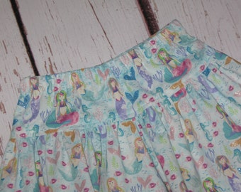 Skirt-Mermaid Glitter skirt with Coordinating border fabric-Made to Order any size up to 10