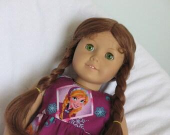 "Dress-Frozen Anna-Doll Clothes fit American Girl & other 18"" dolls-Magenta Badges-Disney Elsa Samantha Kit Felicity"
