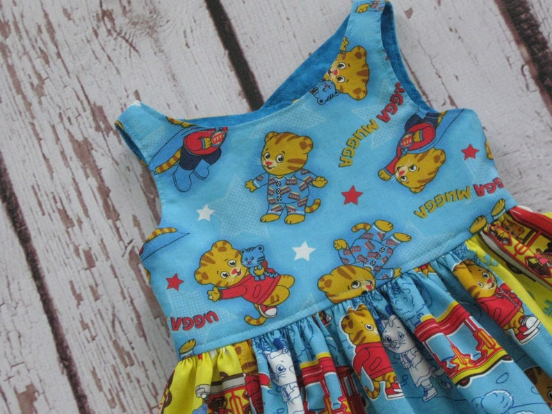 Daniel Tiger Dress-pockets-Made to Order to sz 10-Daniel Tiger/'s Neighborhood PBS KIDS Katerina Kittycat King Friday Queen Sara Saturday/'s