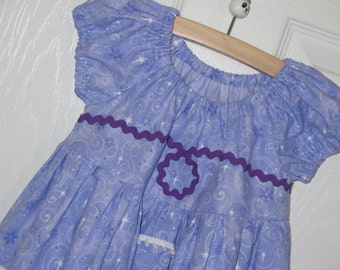Peasant Dress-Sofia 1st-Princess Series-MADE TO ORDER a size-Lavender swirls & flowers with silver dust-Everyday dress-Disneyland World