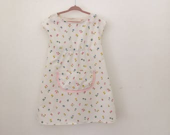 Cream Colored Floral Girls Dress/Frock Size 4
