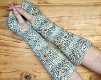 Chunky Knit Wool Arm Warmers Knit Fingerless Gloves || Fossil