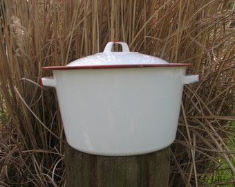 Vintage Enamelware Red and White Lidded Pot Stockpot