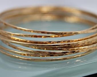 Set of 10 14k Gold Filled Sparkle  Bangle Bracelets Bangles Hand Forged Hammer Texture Bright Finish Stacking Bracelet