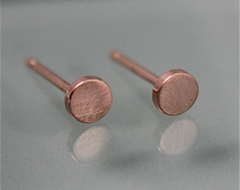 Rose Gold Stud Earrings Tiny Circle 14k SOLID Dot Disk 14k SOLID  Brushed Flat Matte Finish Eco-Friendly Recycled Gold