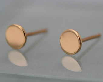 18k Earrings Circle Dot Disk 5mm 18k SOLID Yellow Gold Studs Shiny Finish Recycled Eco Friendly Gold