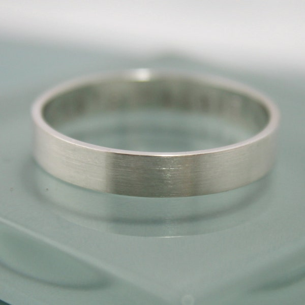 Silver Ring Flat Brushed Satin Matte Recycled Sterling Silver image 1