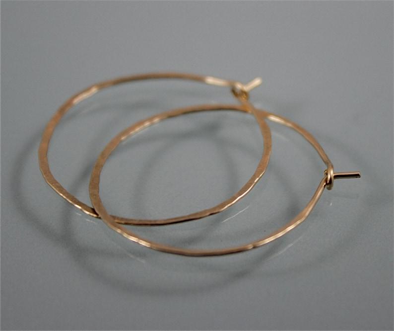 Hoops 1 1/2 14k Gold Filled  Hammered Texture Hoop image 0
