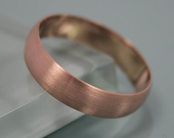 Rose Gold Ring Brushed  14k Solid Rose Gold 5mm Classic Men's  Wedding Band Low Profile Half Round Stacking Ring Eco Friendly Recycled Gold