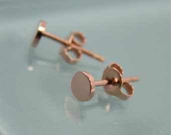 Rose Gold Studs Tiny Circle Dot Disk 14k SOLID Rose Gold Studs  Mirror Polish Finish Eco-Friendly Recycled Gold
