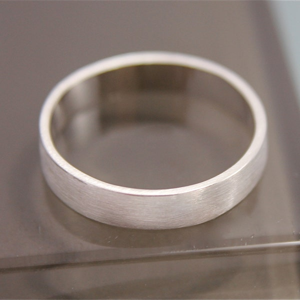 Silver Ring Flat Brushed Satin Matte Recycled Sterling Silver image 2