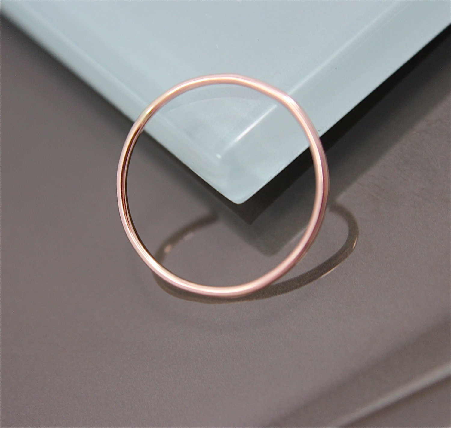 Rose Gold Ring 14k SOLID 1mm Thin Round Skinny Simple Stacking Band Spacer Ring Shiny Finish Eco-friendly Recycled Gold