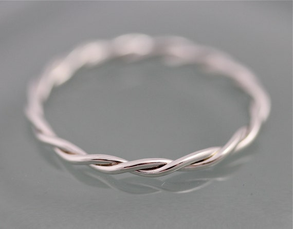 Silver Twist Ring Relaxed Rope Infinity Loose Twisted Skinny Wedding Band 1.5mm Thin Stack Ring Spacer Eco Friendly Recycled by Etsy