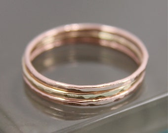 Stacking Set SOLID 14k Gold Thin Hammered Stacking Band Ring Faceted Shiny Finish 2 Rose 1 Yellow