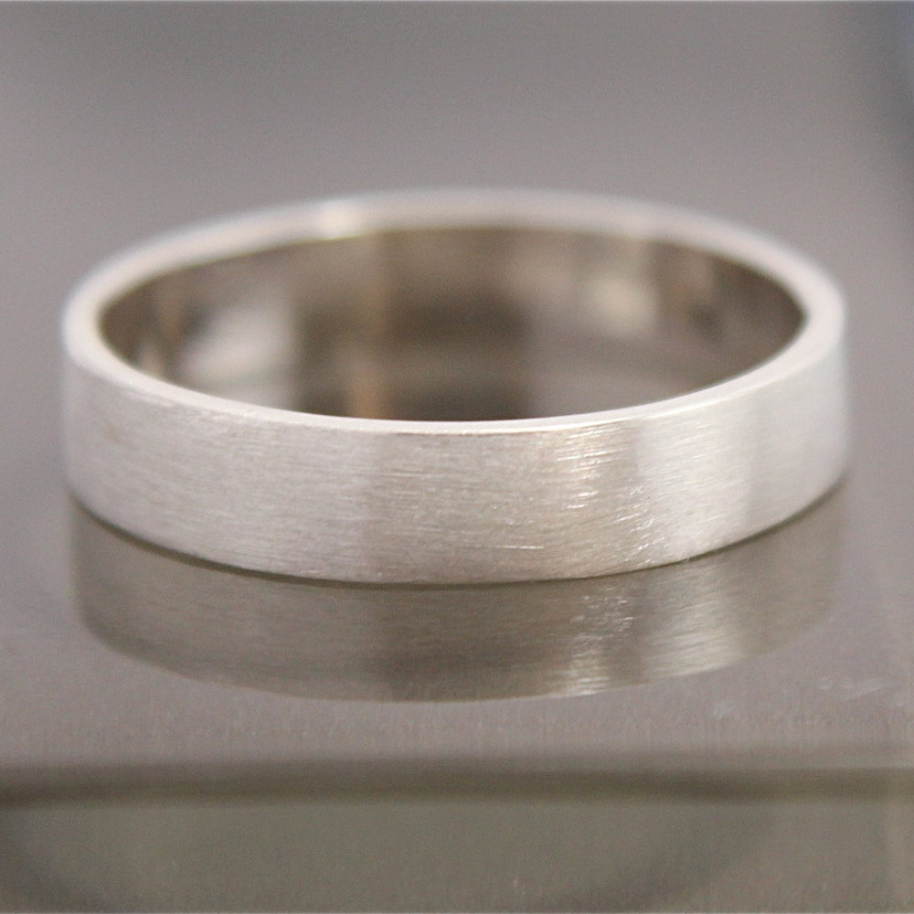 Silver Ring Flat Brushed Satin Matte Recycled Sterling Silver image 0