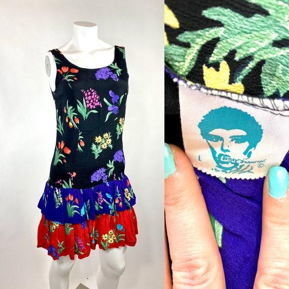 Betsey Johnson Punk Label Floral Rayon Dress 1980s