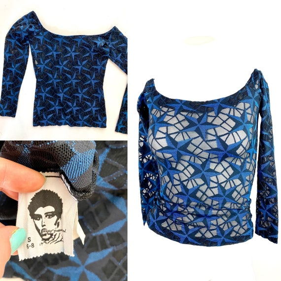 Betsey Johnson Punk Label Mesh Shirt Star Print Ra