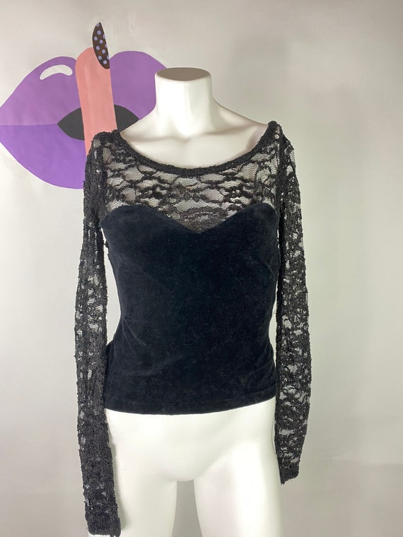 Vintage Betsey Johnson Velvet/Lace Top Corset Bust