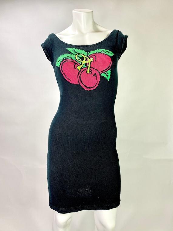 Vintage Betsey Johnson Intarsia Knit Cherry Dress