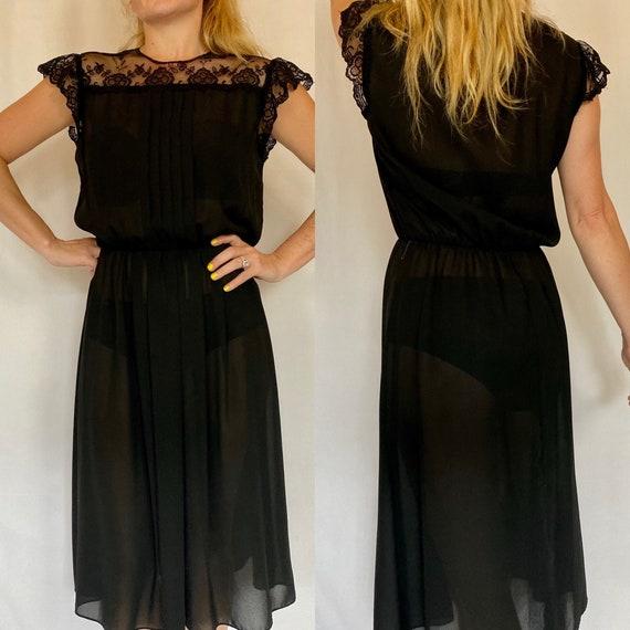 Vintage 70's Sheer Black Lace Dress