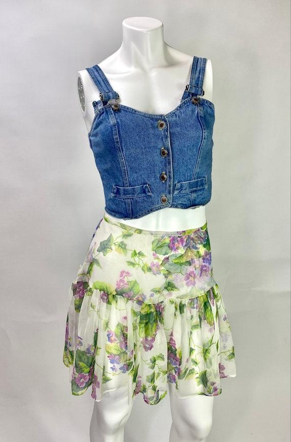 Betsey Johnson Punk Label Sheer Floral Skirt