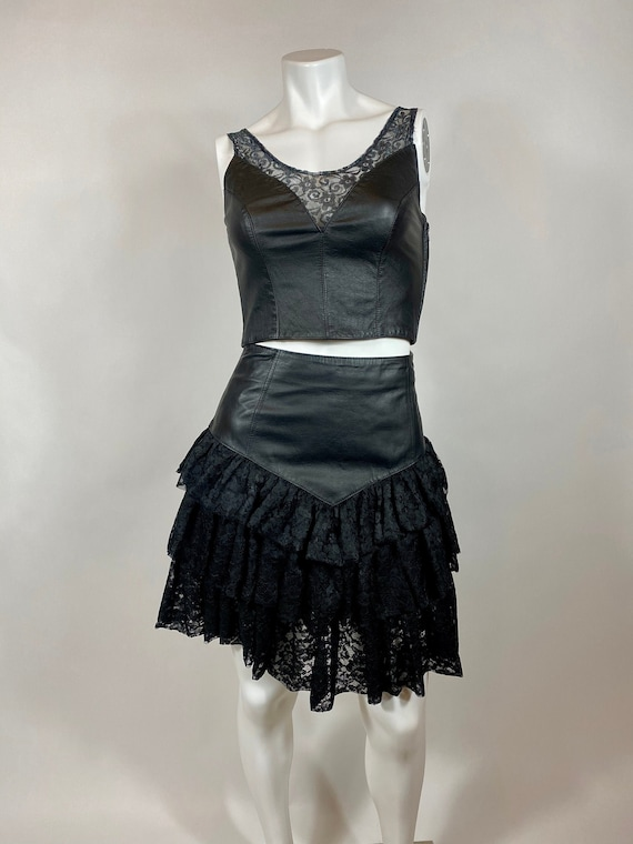 Vintage Leather and Lace Bustier Top Chia 1980s