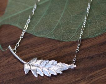 Sterling Silver Fern Leaf Pendant Necklace