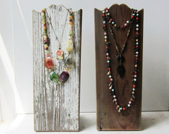 """One Rustic Necklace Display - Brown Barn Wood - OR - Chippy White - Salvaged Wood - Available in 16"""" and 20"""" Made to Order"""