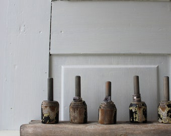 ONE Ring Holder Display - Architectural Salvage - Thick Chippy Black Yellow Gray Paint - Jewelry Storage - Qty READY to SHIP