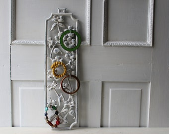 Wall Jewelry Holder - Metal Flower Wall Display With Hooks for Bracelets & Accessories - Distressed White - Hanging Jewelry Display