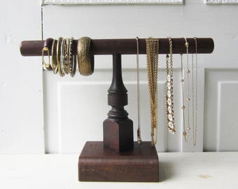 Short Necklace & Bracelet Display - Jewelry Organizer -  Architectural Salvage - Dark Brown Wooden Jewelry Display - Qty  READY to SHIP