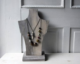 Necklace Bust Display - Weathered Gray Necklace Display - Salvaged Wood - Recycled Wood Jewelry Display -  Qty Available