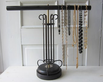"""Art Deco Necklace Display Stand - Large Jewelry Display 24"""" wide 20"""" Tall - Black and Gold Jewelry Display Necklace T Bar - READY to SHIP"""