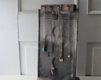 Fleur De Lis Necklace Display - Embossed Galvanized Ceiling Tin - Antique Architectural Salvage - Quantites Available - Ready to Ship