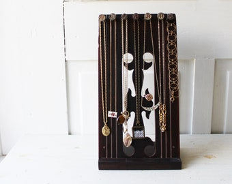 Necklace Display Board - Antique Walnut Architectural Salvage w Numbered Railroad Nails - Salvaged Wood Display - Ready to Ship