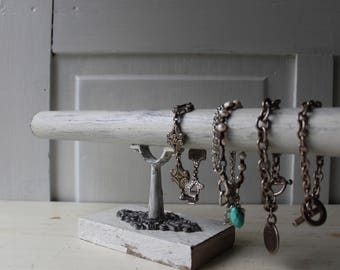 """Bracelet Display Stand - Distressed White Bracelet Holder w Ornate Metal - Chippy White Paint Architectural Salvage - 14"""" - Qty Available"""